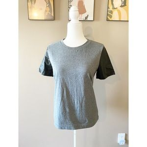 J. Crew Faux Leather Short Sleeve Top